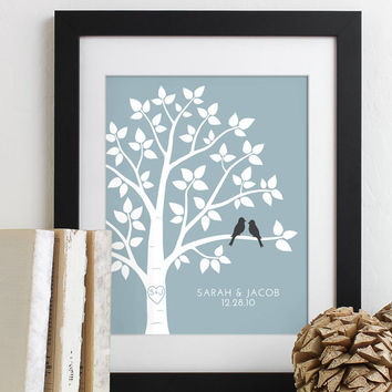 Personalized Valentines Day Gift for Couples Gift for Wife Husband Wedding Gift for Her, Love Birds Wedding Family Tree Art Print - 8x10