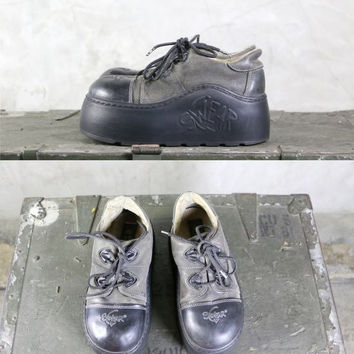 90's platforms, vintage SWEAR Goth Club Kid leather chunky platform shoes / sneakers, women's size 8.5 US , 39 EU