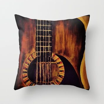 Guitar Throw Pillow by Michelle Silsbee