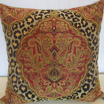 Woven  Leopard and Paisley  Decorative Pillow Cover--20 x 20 Beautiful Throw Pillow--Red, Brown, Gold, Yellow, Green