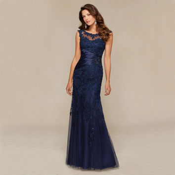 DE2805 Navy Appliques Beaded Evening Dresses 2016 O Neck Backless Sweep Train Formal Women Gowns Vestidos De Fiesta