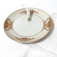 Noritake Hand Painted Floral Lemon Plate Handled Dish  Blue Orange Gold Flowers Serving Plate Ivory Band Made In Japan Vintage Gift For Her