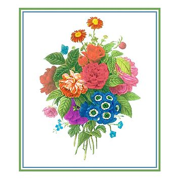 Bouquet of Wildflowers Inspired by Pierre-Joseph Redoute Counted Cross Stitch Pattern