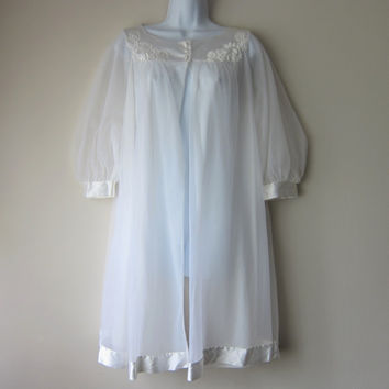 Snow White Gossard Artemis Chiffon Peignoir Robe w/ Satin Trim, Mid-Length -- Burlesque Pinup Glam, Cult Party Kei Fashion!