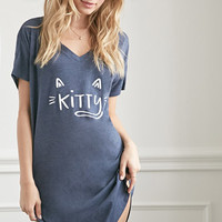 Kitty Graphic Heathered Nightdress
