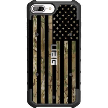 """LIMITED EDITION - Authentic UAG- Urban Armor Gear Case for Apple iPhone 8 PLUS/7 PLUS/6s PLUS/ 6 PLUS (Larger 5.5"""") Custom by EGO Tactical- Subdued US Flag over Multicam / Scorpion Camouflage"""