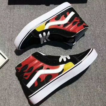 VONEB7T Vans Flame Print Ankle Boots Old Skool Canvas Flat Sneakers Sport Shoes G-A36H-MY