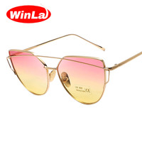 Winla Fashion Brand Designer Sunglasses Women Cat Eye Sunglasses Metal Frame Flat Sun glasses Colorful Lens Vintage Shades UV400
