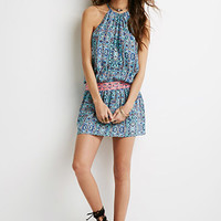 Abstract Print Embroidered Dress