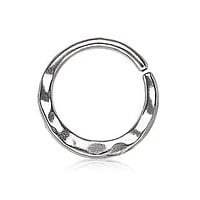 316L Stainless Steel Uneven Look Surface Seamless Ring / Septum Ring