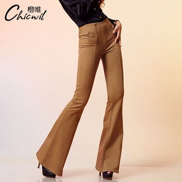 Free Shipping Autumn Brand Slim Big Trumpet Trousers High Waist Bell-Bottom Casual Fashion Women's  Flare Pants