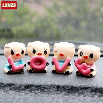 Free Shipping 4pcs/lot Hot Resin Cute LOVE Pig Family Set Pig Classic Toys for Baby Kid Children Accessory Gift