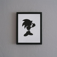 Sonic the Hedgehog   Hand cut black silhouette papercut