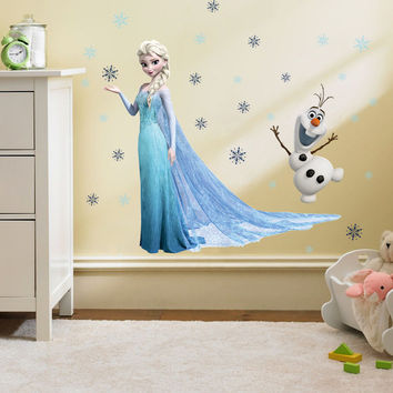 60cm Heigh Elsa Anna Fairy Movie Wall Sticker Decals Girls Kids Princess Vinyl wallpapers Home Bedroom Nursery Party Decoration