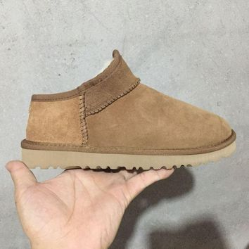 LFMON UGG 1009249 Moccasin Ommino TODS Women Men Fashion Casual Wool Winter Snow Boots Chestnut