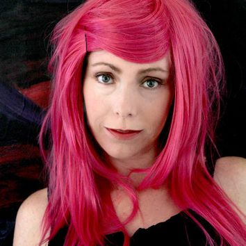 SALE // Berry Luscious Bright Pink Wig // Long Layered Straight or Curl Heat Styleable