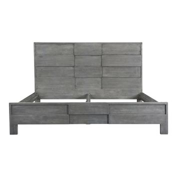 Felix Contemporary Solid Wood Queen Bed Cool Grey