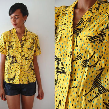Vtg Bold Zebra Dotted Print Yellow Black Turquoise SS Button Up Shirt