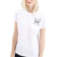 Topshop 'Tee & Cake - French Bulldog' Short Sleeve Pocket Tee (Petite) | Nordstrom