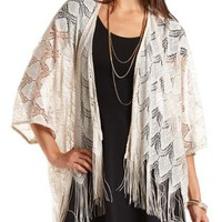 Metallic Lace Fringe Kimono Top by Charlotte Russe - Champagne