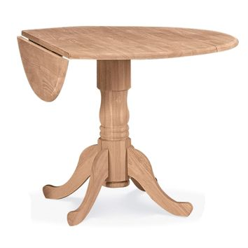Unfinished Round 42 Inch Dual Drop Leaf Dining Table