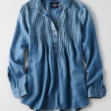 AEO Pintucked Denim Shirt , Medium Wash
