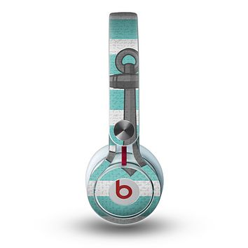 The Trendy Grunge Green Striped With Anchor Skin for the Beats by Dre Mixr Headphones