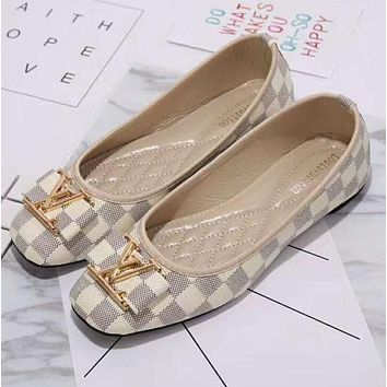 Louis Vuitton LV plaid flat shoes Big logo canvas women sandals shoes  G-YJBD- e830fdebccf9