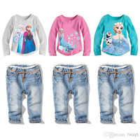 Frozen Child Suit Kids Sets Girls Outfits Children Clothing Kid Long Sleeve T Shirt Blue Jeans Children Set Kids Suit Outfits Girl Clothes.