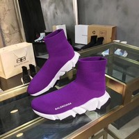 Balenciaga Speed Trainers In Purple Knit And White/black Sole Unit - Best Online Sale