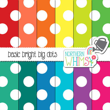 Bright Big Dot Digital Paper – large polka dot scrapbook paper in red, yellow, green, blue, & purple - printable paper - commercial use