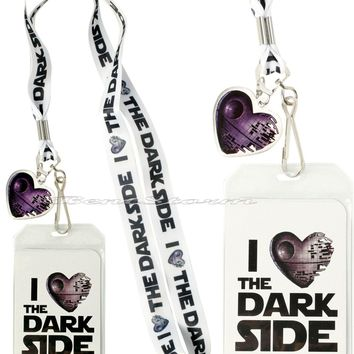 Licensed cool Star Wars I Heart the Dark Side Metal Death Star Lanyard ID Card Pin Holder  NEW