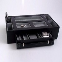 Black Leather Valet Jewelry Box with Pen and Watch Drawer Catchall Tray