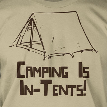Camping Is In- Tents Screen Printed T-Shirt Mens Ladies Womens Youth Kids Funny Geek Camping Hiking Mountain