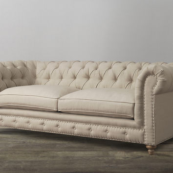 Oxford Chesterfield Style Beige Linen Sofa