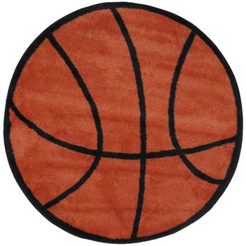 LA Rug Fun Time Shape Basketball Brown and Black 39 in. Round Area Rug-FTS 004 39RD - The Home Depot