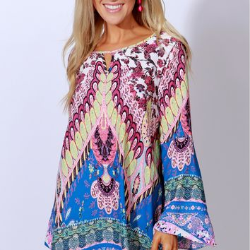Exotic Travels Print Dress Ivory/Pink/Teal