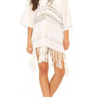 Summer V-neck Fringed Stripped Knit Beachwear