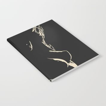 Womans body beauty - the Shapes in Dark, sexy stencil, woman nude, erotic artwork, hot blonde Notebook by Peter Reiss