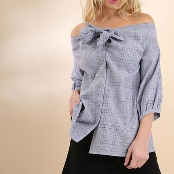 Plaid Print Off Shoulder Puff Sleeve Top - Blue