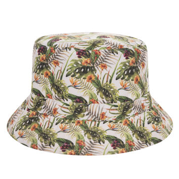 New Flat Bucket Hat Women 3D Printed Tropical Flower Bob Outdoor Beach Hunting Fishing Hip Hop sombrero pescador Panama Girls