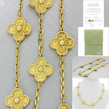 Van Cleef & Arpels Alhambra 10 Motifs 18k Gold Necklace w/Pouch Papers $7850