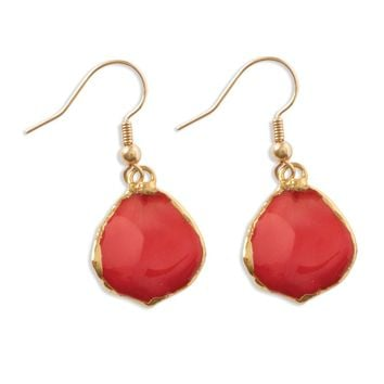 Lacquer Dipped 24k Gold Trim Red Rose Petal Dangle Earrings