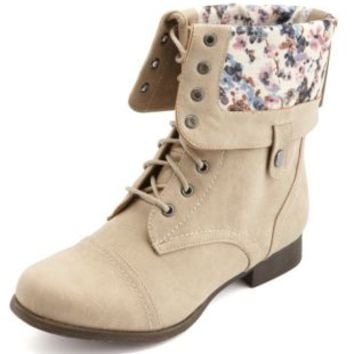 Floral-Lined Fold-Over Combat Boots by Charlotte Russe - Stone