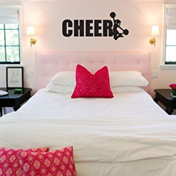 Cheer with Cheerleader Vinyl Wall Words Decal Sticker Graphic