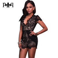 Black White Lace Bodysuit Women Summer Beach Casual Wear Playsuits Sexy Hollow Out Crochet V-Neck Women Bodysuits Short Rompers