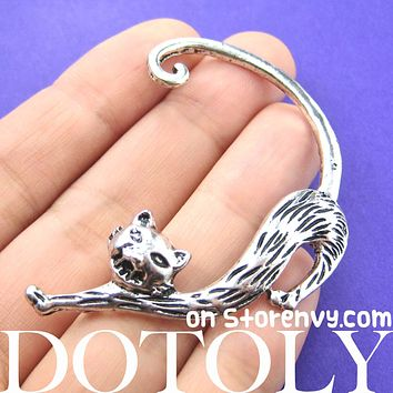Kitty Cat Animal Wrap Ear Cuff in Silver | DOTOLY