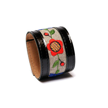 Unique bracelet with folk hand embroidery / Leather Accessories from BRANDIA / Leather Black