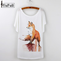 New Harajuku 2016 Summer Tops Fox Animal Print T-Shirt Women Camisetas Feminina Tee Shirt Femme T Shirt Tshirt White Tees Loose