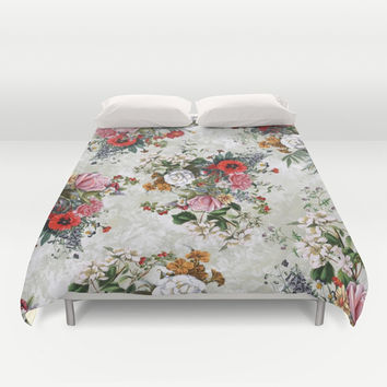 Botanical Flowers IV Duvet Cover by RIZA PEKER